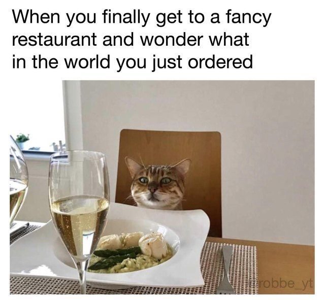 When you finally get to a fancy restaurant and wonder what in the world you just ordered