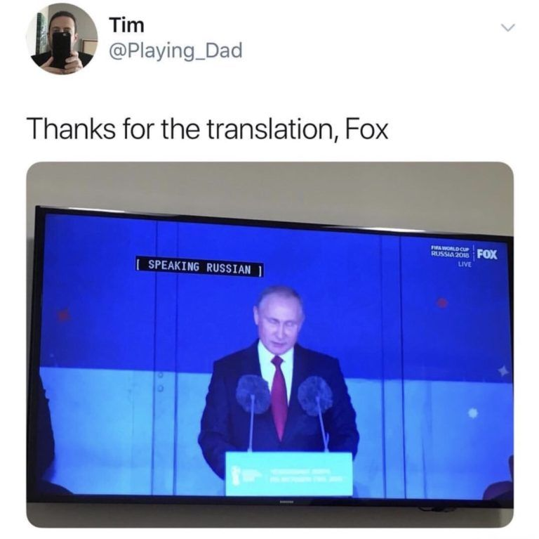 Thanks for the translation, Fox SPEAKING RUSSIAN