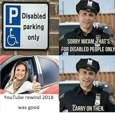 Disabled parking only Sorry ma'am that's for disabled people only