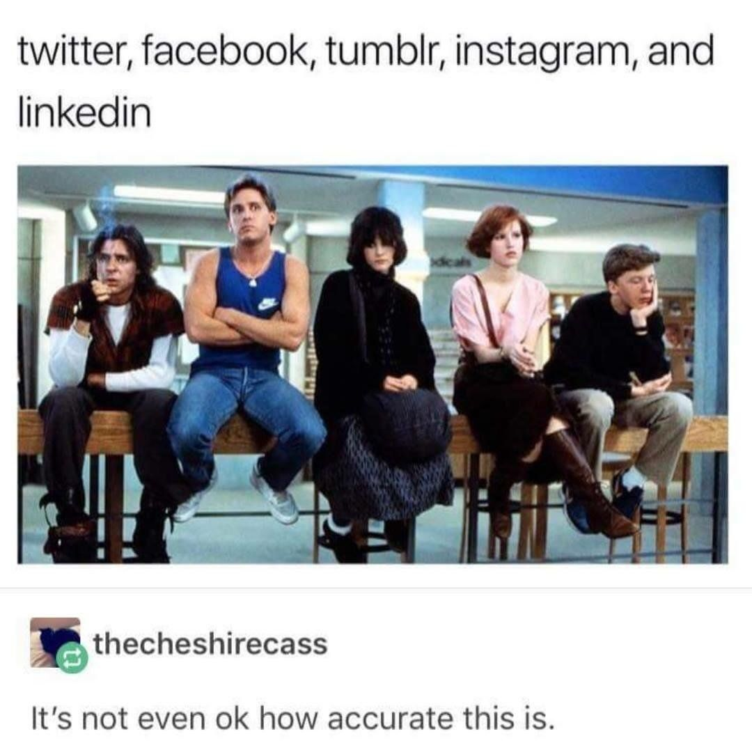 twitter, facebook, tumblr, instagram, and linkedin
