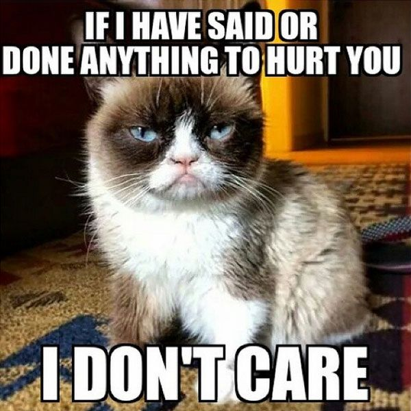 If i have or done anything to hurt you I don't care